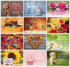 Geburtstagskarten (Set 1): 24 Glückwunschkarten zum Geburtstag 12 Motive x 2 St.