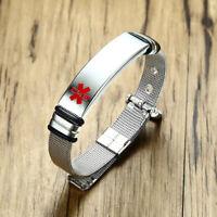 Adjustable Medical Alert ID Tag Stainless Steel Men Bracelet Band Free Engraving