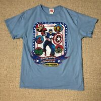 Marvel Comics Adult Medium M Blue Captain American Hulk Super Hero Tee T shirt