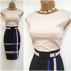 Karen Millen Bodycon Colourblock Black Beige Blue Wiggle Dress Size 2 UK 10 12