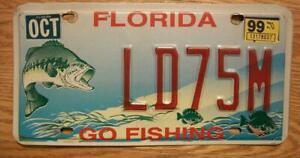 SINGLE FLORIDA LICENSE PLATE - 1999 - LD75M - GO FISHING