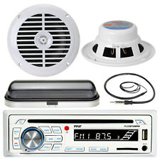 "Pyle Bluetooth Boat AUX AM FM Radio, 6.5"" White Speakers, Radio Cover, Antenna"