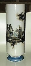 """Unmarked Antique (80+ years old) White Crystal Cylinder Colonial Scene 11.75"""""""