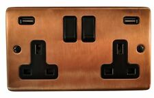 G&H CTC910B  Tarnished Copper 2 Gang Double 13A Switched Plug Socket 2.1A USB