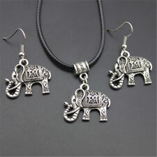 Tibet Silver Jewelry Set1 Pair Earring Hook+1PC Elephant Pendant Necklace Hot