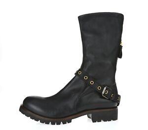 Women's SERGIO ROSSI 228756 black leather mid calf biker boots sz. 9