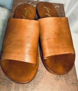 Free People Womens Tan Aged Leather Open Toe Flat Slider Mules UK 4 / 37 rrp £88
