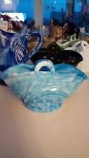Lovely Edward Moore Hobnail Closed Blue Malachite Glass Basket Great Condition
