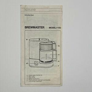Krups Brewmaster model #150 INSTRUCTION BOOKLET ONLY coffee maker