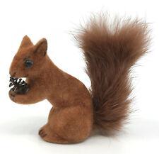 Wagner Kunstlerschutz Squirrel 2.25in Flocked Fur Toy Figure Putz Label 1970s