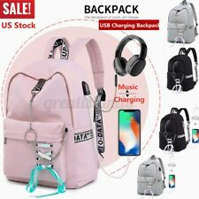 Women USB Port School Backpack Girls Waterproof Girl Shoulder Bag Travel Satchel