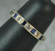 9 Carat Gold Blue and White Full Eternity Stack Ring f0445
