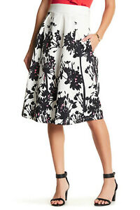 TOV Women's Floral Print Jacquard A-Line Flare Skirt Size 42 / L - Made in Italy