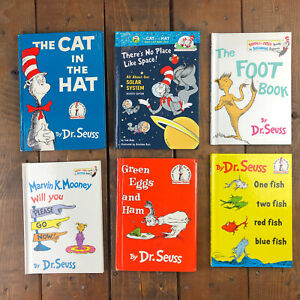 LOT OF 6 - Dr. Seuss - Green Eggs / Cat Hat / One Fish / Marvin / Foot - Book