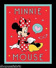 MINNIE MOUSE STAR PORTRAIT DISNEY QUILT PANEL or WALL BANNER on COTTON FABRIC