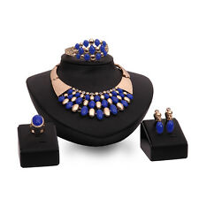 Gold Blue Beads Crystal Statement Jewelry Set Necklace Bracelet Ring Earrings