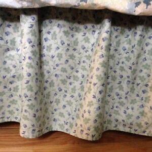 "Laura Ashley ""Josephine Ruffle"" Aqua and Blue Full (54"") Size Bed Skirt"