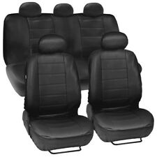 Black Synthetic Leather Auto Sedan Seat Covers Full Set Front Rear Car Cover New