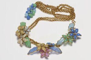 CHANEL Spring 1997 Maison Gripoix Poured Glass Camellia Flower Chain Waist Belt