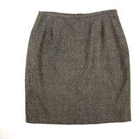 Pendelton Womens Pencil Skirt Size 16 Petite Brown Tweed Wool Blend Lined Career