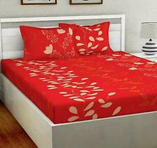 Super soft glace cotton 144 Tc King size Double Bedsheet with 2 Pillow Covers