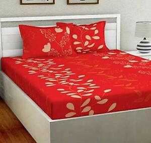 Super soft glace cotton 144 Tc  Double Bedsheet with 2 Pillow Covers