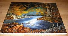 COLORADO NATURE WOODS TREES STREAM LAKE POND AUTUMN SEASON FOREST OIL PAINTING