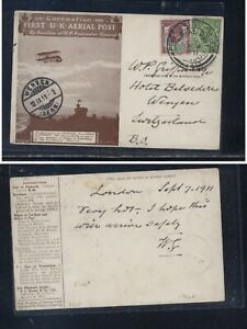 Great  Britain   nice  1911  special  airmail cover  to Switzerland