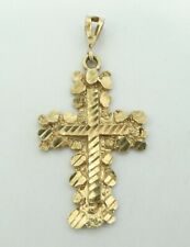"""10K Yellow Gold Dia Cut Gold Nugget Style Religious Cross Pendant 1.55"""" 5g D8858"""