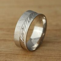 Solid 925 Sterling Silver 8mm Wedding Band Ring Jewellery