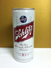 """Schlitz aluminum pull top beer can 1975 16 ounces 6.25"""" Milwaukee WI D6 vintage"""