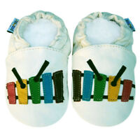 Freeship Littleoneshoes Soft Sole Leather Baby Kids XylophoneIvory Shoes 18-24M