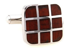 Wood and Stainless Steel Nine Square Wedding Cufflinks by COWAN BROWN