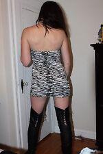 Sexy Lingerie Black & White Mini Dress Skirt - Exotic Dancer Stripper Club Wear