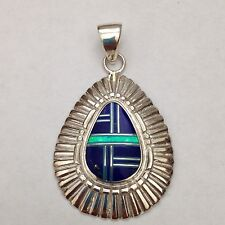 Sterling Silver Handmade Inlay Teardrop Centered Pendant