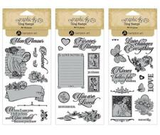 Graphic 45 MON AMOUR 34pc Cling Stamp 1-2-3 Love Valentine Mixed Media