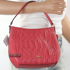 NWT Coach Madison Gathered Leather Top Handle Tote Crossbody 51908 Loganberry