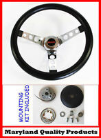 "GMC Pick Up Truck Jimmy Van Black Foam Steering Wheel 14 1/2"" GMC cap"