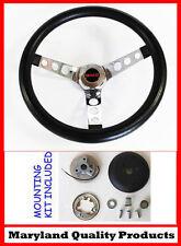 "GMC Pick Up Truck Jimmy Van GRANT Black Steering Wheel 13 1/2"" GMC cap"