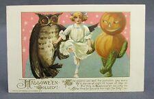 1913 Halloween Postcard Winsch Jollity Schmucker Girl Dancing Owl Vegie JOL Man