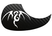 Tribal Dragon Guitarra Acústica De Carbono Negra Pickguard scratchplate, Blanco
