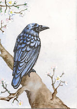 ACEO PRINT OF PAINTING CROW RAVEN RYTA GOTHIC FLOWERS SPRING APPLE BLOSSOM TREE