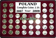 Poland 2007-08 coins 2zl complete year 39 coins + palette