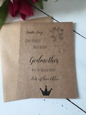 1 Personalised Handmade Will You Be My Fairy Godmother Flat Card And Envelope