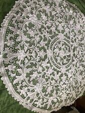 """More details for vintage white point de venise round tablecloth centrepiece 54""""54"""""""
