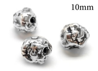 3pc Sterling Silver 925 bead - Hollow bead tube 10mm Antique sterling silver