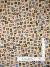Sew Quilt Thimble Toss Beige Cotton Fabric QT 24159 Thimble Pleasures - Yard