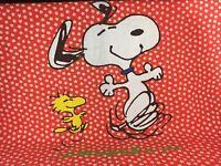 "Vintage Chatham Peanuts Snoopy Blanket RED Daisies Woodstock 72"" x 90"" 1970s"