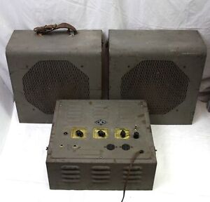 Vintage 1950s Hamilton Electronics 6L6 Tube Amp Military PA System with Speakers