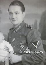 Altes Portrait Foto seltene Orden - Kombination ISA / Panzerkampfabzeichen 2.WK